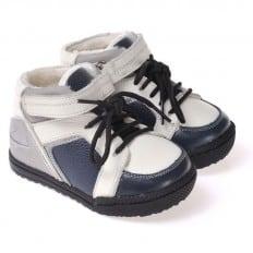 CAROCH - Krabbelschuhe Babyschuhe  Leder - Jungen | Grau und blau gefüllte stiefel