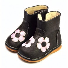 FREYCOO - Scarpine bimba primi passi con fischietto | Stivali marrone fiori rosa