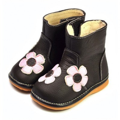 FREYCOO - Squeaky Leather Toddler Girls Shoes | Brown winter boots with pink flower