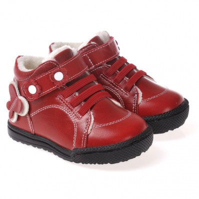 CAROCH - Soft sole girls kids baby shoes | Red filled booties