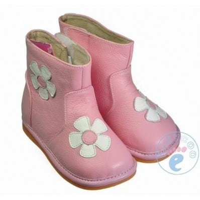 FREYCOO - Squeaky Leather Toddler Girls Shoes | Pink winter boots with white flower