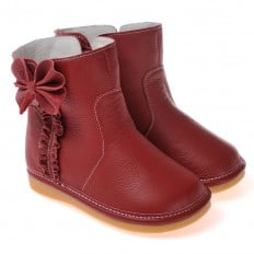 CAROCH - Squeaky Leather Toddler Girls Shoes | Red filled bootees