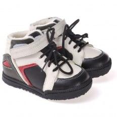 CAROCH - Krabbelschuhe Babyschuhe  Leder - Jungen | Blau und weiß gefüllte stiefel