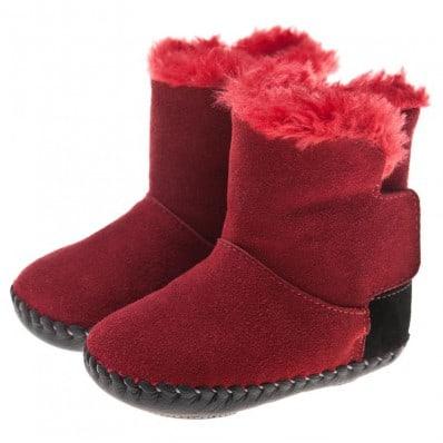 Little Blue Lamb - Chaussures premiers pas cuir souple | Bottines rouge talon noir