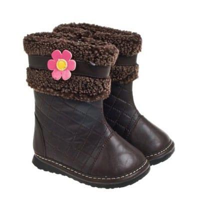Little Blue Lamb - Zapatos de cuero chirriantes - squeaky shoes niñas | Botas de invierno llenas de flores de color rosa