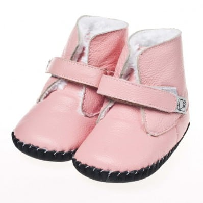 Little Blue Lamb - Baby girls first steps soft leather shoes | Pink bootees