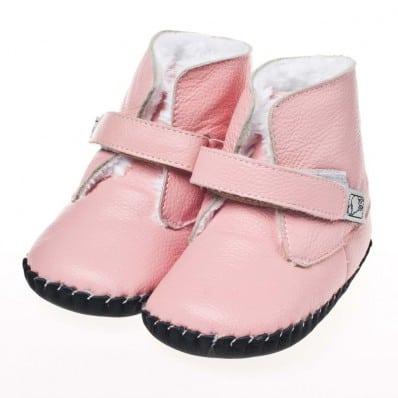 Little Blue Lamb - Chaussures premiers pas cuir souple | Bottines rose