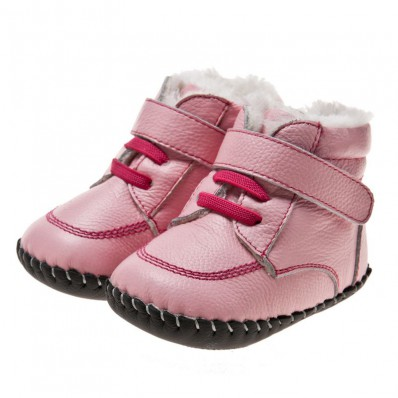 Little Blue Lamb - Baby girls first steps soft leather shoes | Pink bootees fushia lace