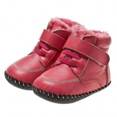 Little Blue Lamb - Baby girls first steps soft leather shoes | Red bootees fushia lace