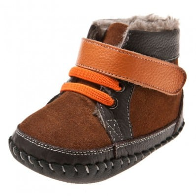 Little Blue Lamb - Chaussures premiers pas cuir souple | Montantes fourrées marron gris
