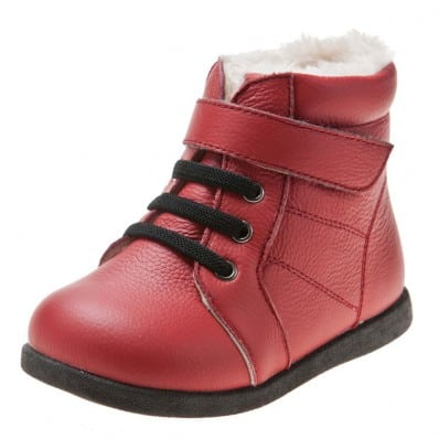 Little Blue Lamb - Soft sole girls Toddler kids baby shoes | Red color bootees