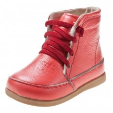 Little Blue Lamb - Soft sole girls Toddler kids baby shoes   Salmon color bootees with red laces
