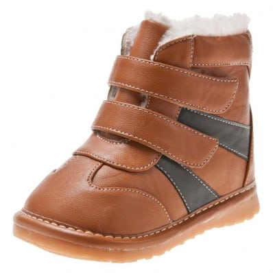 Little Blue Lamb - Zapatos de cuero chirriantes - squeaky shoes niños | Botines 2 marrones velcro