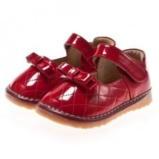 Little Blue Lamb - Squeaky Leather Toddler Girls Shoes |  Red with knot ceremony
