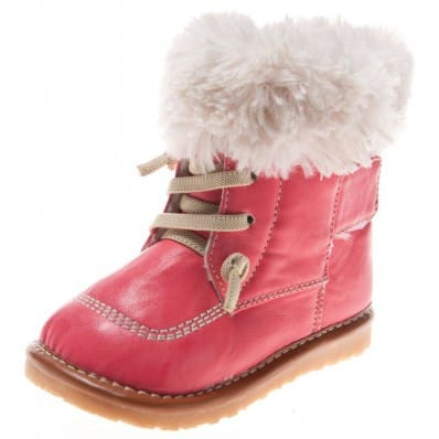 Little Blue Lamb - Squeaky Leather Toddler Girls Shoes | Pink winter bootees