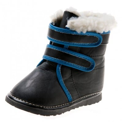 Little Blue Lamb - Scarpine bimba primi passi con fischietto   Stivaletti nero banda blu