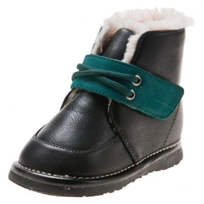 Little Blue Lamb - Chaussures à sifflet garçon | Bottines noir velcro vert