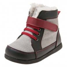 Little Blue Lamb - Zapatos de suela de goma blanda niños   Botines gris cordones rojo