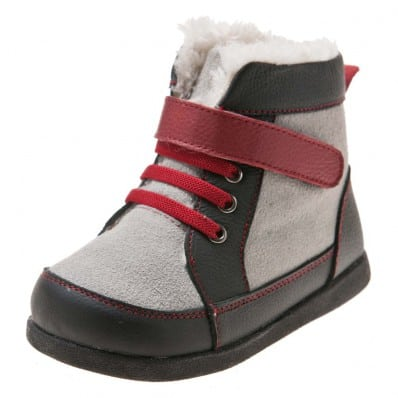 Little Blue Lamb - Soft sole boys Toddler kids baby shoes | Grey bootees red laces
