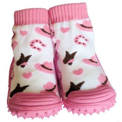 Chaussons-chaussettes enfant antidérapants semelle souple | Petits chapeaux rose