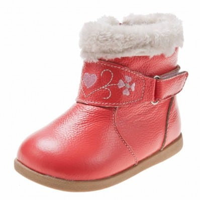 Little Blue Lamb - Soft sole girls Toddler kids baby shoes | Salmon winter Bootees