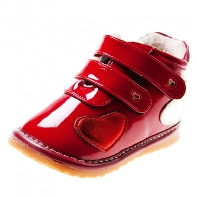 Little Blue Lamb - Squeaky Leather Toddler Girls Shoes | Red shinny bootees