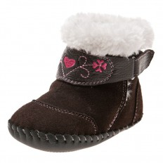Little Blue Lamb - Baby girls first steps soft leather shoes   Brown velvet bootees