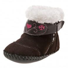 Little Blue Lamb - Chaussures premiers pas cuir souple | Bottines marron velours