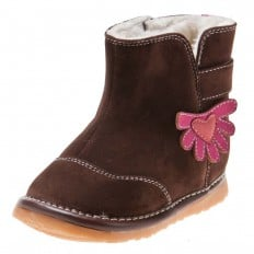 Little Blue Lamb - Squeaky Leather Toddler boys Shoes | Brown bootees with pink flower