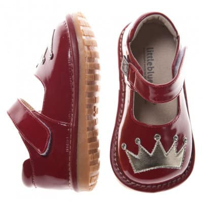 Little Blue Lamb - Squeaky Leather Toddler Girls Shoes | Red silver crown ceremony