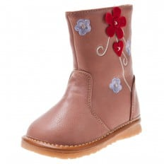 Little Blue Lamb - Squeaky Leather Toddler boys Shoes | Pink boots with red flower