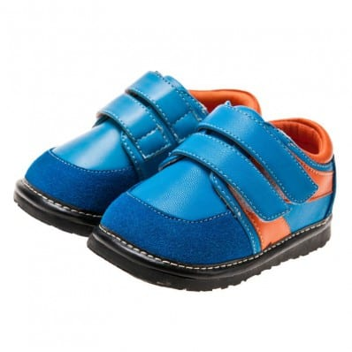 Little Blue Lamb - Squeaky Leather Toddler boys Shoes | Blue and orange sneakers