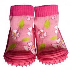 Chaussons-chaussettes enfant antidérapants semelle souple | Rose fleurs de cerisier