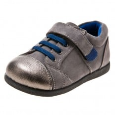 Little Blue Lamb - Soft sole boys Toddler kids baby shoes | Grey and silver sneakers