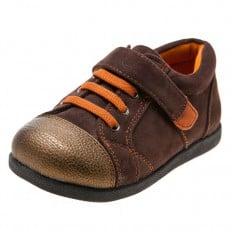 Little Blue Lamb - Zapatos de suela de goma blanda niños   Zapatillas de deporte marrones y anaranjadas