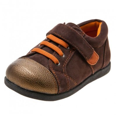 Little Blue Lamb - Chaussures semelle souple | Baskets marron et orange