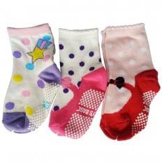 3 paia di calzini antisdrucciolo bambino di 1 a 3 anni | Ragazza 16