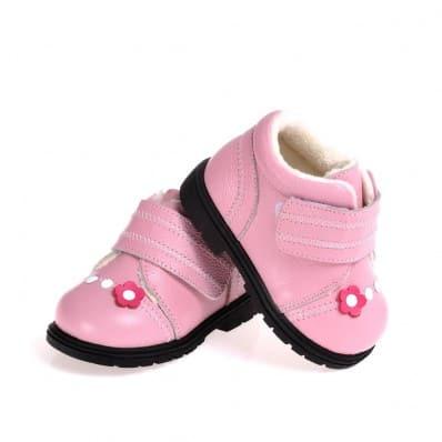 CAROCH - Krabbelschuhe Babyschuhe Leder - Mädchen | Rosa mit der fushia blume gefüllte stiefel