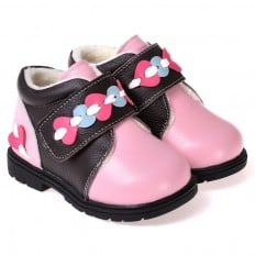 CAROCH - Soft sole girls kids baby shoes | Pink and black filled booties