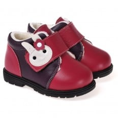 CAROCH - Zapatos de suela de goma blanda niñas |Montantes forradas rosa lanzado conejo