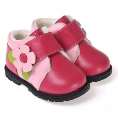 CAROCH - Soft sole girls kids baby shoes | Pink with big flower filled booties