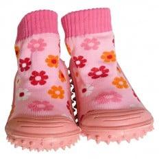 Chaussons-chaussettes enfant antidérapants semelle souple | Petites fleurs rose