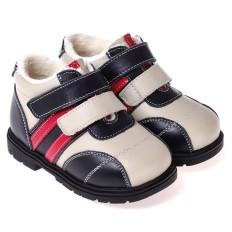 CAROCH - Zapatos de suela de goma blanda niños   Montantes forradas azul, blanco y rojo