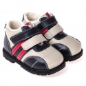 CAROCH - Soft sole boys Toddler kids baby shoes   Blue, white and red filled booties