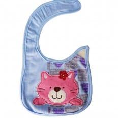 Bavaglini bambino ragazza cotone ricamato | Gatto rosa