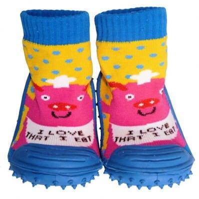 Hausschuhe - Socken Baby Kind geschmeidige Schuhsohle Junge   Schwein