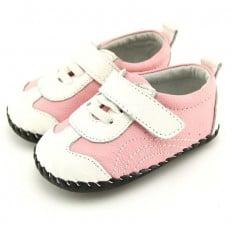 FREYCOO - Krabbelschuhe Babyschuhe Leder - Mädchen | Weiß und rosa sneakers
