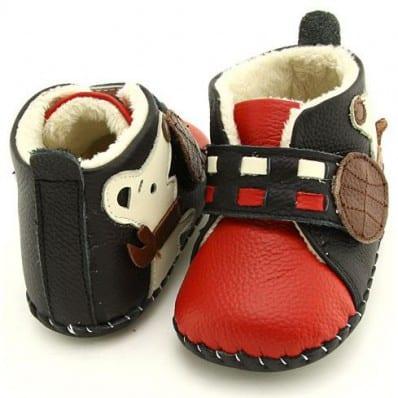 FREYCOO - Krabbelschuhe Babyschuhe Leder - Jungen | Rot gefüllte stiefe kleiner hund