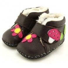 FREYCOO - Zapatos de bebe primeros pasos de cuero niñas | Botines forrados marrones seta
