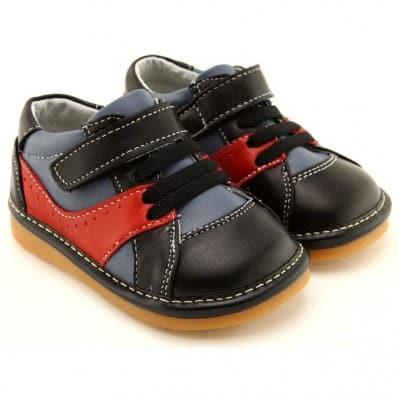 FREYCOO - Krabbelschuhe Babyschuhe squeaky Leder - Jungen | Schwarz und rot